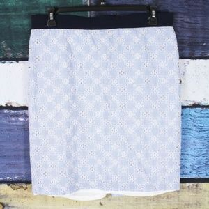 Ann Taylor Blue Striped Floral Eyelet Lace Skirt